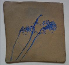 Artistic Hand Made hand decorated stoneware Original Design and Craft Tiles BLUE