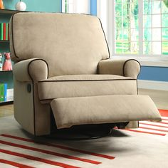 Rock your little one to sleep or just take a nap yourself in this swivel glider/recliner chair. Featuring plush cushions and a neutral tone, this chair is designed for nurseries, giving you all the comfort you need as you attend to your tot's needs.