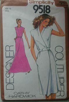 Vintage 1980s Sewing Pattern Simplicity 9518 Designer Couturier Mock-Wrap Dress