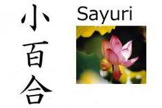 Sayuri (pequeña azucena) Nombre compuesto: Sa (pequeño) + Yuri (azucena) Significado: Pequeña azucena Lecturas: Sayuri, Koyuri Nombre de chica