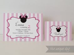 Minnie Mouse Birthday Invitation, Thank you Card, Custom, Personalized Printable Card // MIN-09