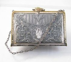 1920's silver and brass floral purse