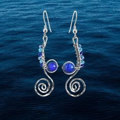 Stunning earrings handcrafted from recycled sterling silver. The Undercurrents earrings speaks of ocean currents and delicate seahorse. Nautical Earrings, Classic Home Decor, Sea Waves, Love To Shop, Best Day Ever, Wedding Accessories, Bridesmaid Gifts, Celtic, Gifts For Her