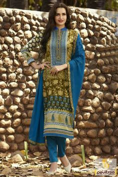 Fancy blue color cotton formal salwar kameez. Purchase this latest beautiful salwar suit with free shipping and cash on delivery service in India all the city. #salwarsuit, #casualdress more: http://www.pavitraa.in/store/chiffon-salwar-suits/