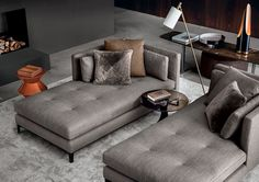 Part of the popular Andersen seating system, the Minotti Andersen Paolina Chaise-Longue's clean lines and considered design makes it perfect for curating exquisite interior compositions with multiple elements. Available from Minotti London. Living Room Sofa, Home Living Room, Living Room Furniture, Living Room Designs, Living Room Decor, Design Furniture, Sofa Furniture, Sofa Design, Interior Design