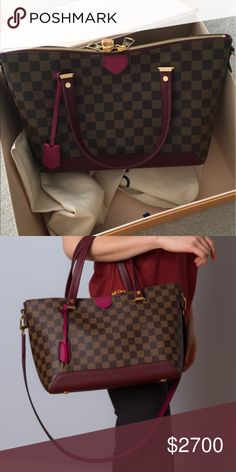 Louis Vuitton Hyde Park tote Gorgeous from the luxury house of Louis Vuitton. Damier outside print with colorful dark fuchsia Cuir Taurillon trim. Beautiful two tone removal strap. Can wear on shoulder or cross body. Microfiber lining  key bell and padlock. Double zip closure. Inside flat pocket double smartphone pocket.  Includes original receipt, tags, dustbag, box.  Price not negotiable. No trade. Louis Vuitton Bags Totes