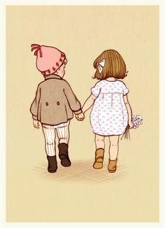 Belle & Boo ansichtkaart Together