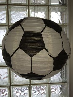 Soccer Ball Hanging Paper Lantern by PrettyPaperCuties on Etsy