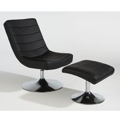Relax in style with the Denver easy chair and matching footstool. Ideal in the living room, office and home, the chair and footstool are made in black faux leather with a groovy chrome finish base. A comfortable seating alternative at a great price. £190