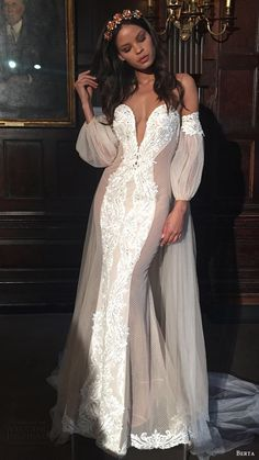 BERTA BRIDAL fall 2016 off shoulder bishop sleeves split sweetheart mermaid wedding dress.