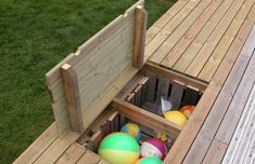 """""""I have a thing that I find difficult to get good storage for, namely the children's outdoor toys. Spades, buckets, water toys, balls … - All About Gardens Deck Design, Garden Design, Childrens Outdoor Toys, Deck Storage, Water Storage, Hidden Storage, Toy Storage, Storage Ideas, Water Toys"""
