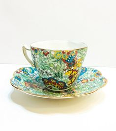 Gorgeous Rosina Tea Cup Paisley Chintz Blue by GracesVintageGarden