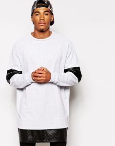 Browse online for the newest ASOS Super Longline Oversized Sweatshirt With Faux Leather Panels styles. Shop easier with ASOS' multiple payments and return options (Ts&Cs apply). Long A Line, Sweatshirts, Men's Hoodies, Fashion Forward, Fashion Online, Asos, Normcore, Long Sleeve, Mens Tops