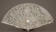 Fan, mid-18th century, French, Point d'Angleterre bobbin lace; mount of mother-of-pearl with gold and diamonds.