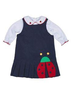 Z1RCG Florence Eiseman Pleated Corduroy Ladybug Dress w/ Blouse, Navy/White, Size 2-4