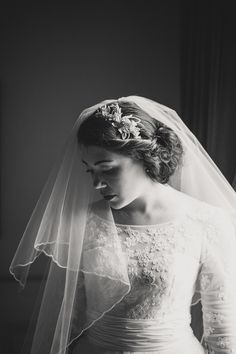 A beautiful shot of the bride in her wedding veil.