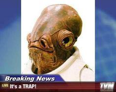 Breaking News! #admiral #ackbar #star #wars Funny Posters, Movie Posters, Admiral Ackbar, The Force Is Strong, Nerdy, Sci Fi, Star Wars, Stars, Fictional Characters