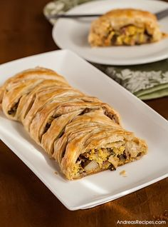 Puff Pastry Breakfast Braid with Eggs, Ham, Potatoes, Mushrooms, and Goat Cheese