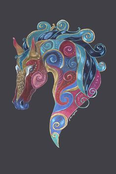 Horse Totem Art Card by Jennifer Hawkyard, Greeting Card Featuring Colourful Horse Art, Blank ins Horse Quilt, Horse Cards, Painted Pony, Animal Totems, Equine Art, Art Plastique, Custom Art, Cool Art, Art Projects