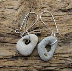 Natural holey stone earrings magic lack lucky protect powerful odin moon witch