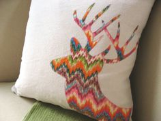 Deer Pillow Cover Cozy Flannel Zigzag Stag by VixenGoods on Etsy