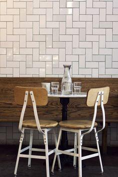 E a r l y w a r e craft beer shop, metro style, style tile, subway tile, style guides Kitchen Tiles, New Kitchen, Kitchen Dining, Dining Set, Herringbone Tile, Tile Installation, Style Tile, Wall Tiles, Subway Tiles