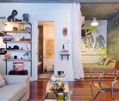 Julien's Small Studio Apartment Bursting With Art, DIY Projects & Quirky Objects
