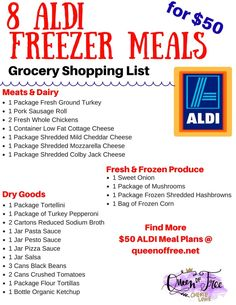I cant believe you can make 8 ALDI Freezer meals for under 50 This post has an entire meal plan complete with a free printable shopping list Make Ahead Freezer Meals, Crock Pot Freezer, Freezer Cooking, Frugal Meals, Cheap Meals, Budget Meals, Budget Recipes, Inexpensive Meals, Cheap Recipes