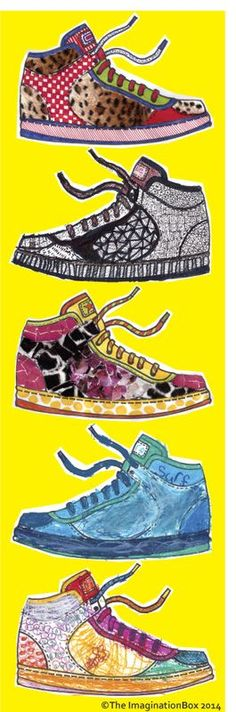 design your own sneakers! free pdf download activity sheet, great for kids of all ages to explore colour, texture, design, collage...