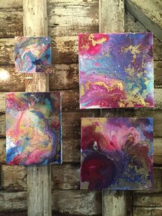 Artist Tara Bach.  love this colorful cluster of paintings! www.tarabachart.com Acrylic Art, Acrylic Liquid, Acrylic Pouring, Beautiful Paintings, Colorful Paintings, Visual And Performing Arts, Alcohol Ink Art, Wall Art Pictures, Art Techniques