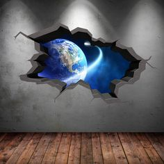Earth Space Planet Galaxy Cracked 3d Wall Sticker Stars Mural Decal Graphic Wall Art Boys Bedroom Wall Stickers 7 WSD5