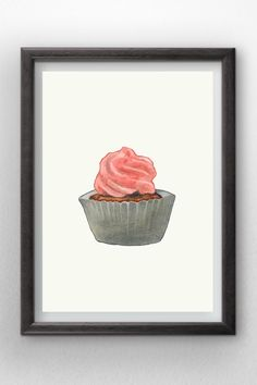 Cupcake Watercolor painting  instant digital download  by Penfood