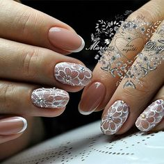 30 Gorgeous Wedding Nail Art Ideas for Brides ~ Lace Nails, Flower Nails, Pink Nails, My Nails, Bride Nails, Wedding Nails, Nail Art Fleur, Bridal Nail Art, Diamond Nails