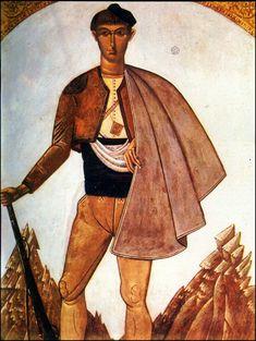 """ΦΩΤΗΣ ΚΟΝΤΟΓΛΟΥ: """"Μακεδονομάχος"""" (1926)""""Η παρούσα ζωγραφία εφιλοτεχνήθη όπως εν σχήμασι γραπτοίς διαμένη πρό τών ομμάτων εις αιώνα ο κύκλος τής ελληνικής φυλής, από τών πρώτων αυτής προπατόρων μέχρι τών καθ' ημάς…Εζωγραφήθη δέ μετά πόθου καί φιλοτιμίας πολλής φαντασία καί χειρί Φωτίου Κόντογλου τού εκ Κυδωνιών τής Μικράς Ασίας"""" Συλλογή Στ. Κωνσταντινίδη. Greek Art, Orthodox Icons, Classic, Painting, Art, Derby, Painting Art, Paintings, Classic Books"""