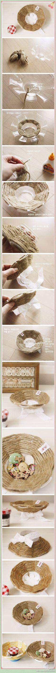 Cesta decorativa hecha con cuerda y un vaso desechable. También puedes combinar distintos colores :-)