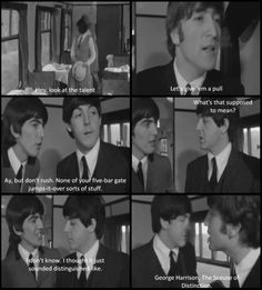a hard days night, beatles, black and white, caption, cinema, film, funny, george harrison, john lennon, movie, paul mccartney, quote, retro, screencap, separate with comma, subtitle, text, the beatles, vintage, words