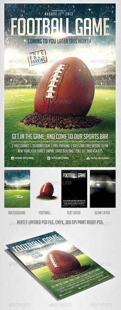 American Super Ball Football Flyer Football, Flyer template and - sports flyer template