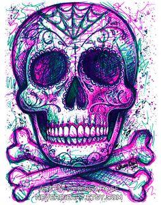 Neon Death Art Print 5x7 8x10 or 11x14 in Modern by NeverDieArt