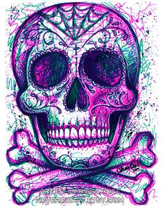 Neon Death Art Print 5x7 8x10 or 11x14 in Modern by NeverDieArt