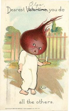 """Vintage Tuck's PC, Anthropomorphic Fruit Head, You """"Beet"""" all the Others  Curtis"""