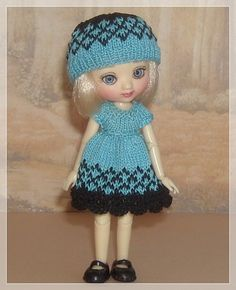 Amelia Thimble Dolls Turquoise and Black Dress by JCsTinyTreasures