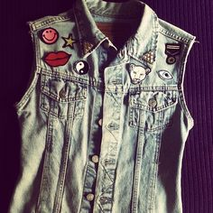 DIY #denim #patches #vest #yingyang #tiger #kiss #eyes
