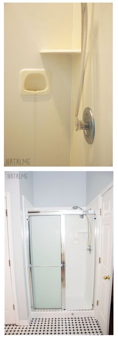 Shower before and after with Rust-Oleum Tub & Tile Paint