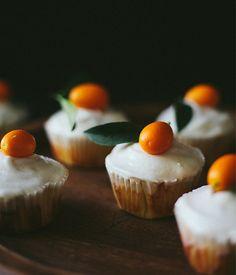 Celebrating citrus season with everyone's favorite dessert, kumquat cupcakes with citrus cream cheese icing. Recipe on our Style Blog!