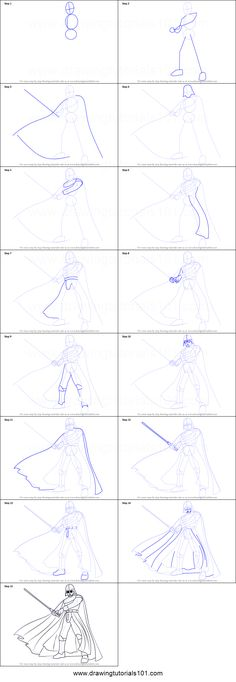 How to Draw Darth Vader from Star Wars Printable Drawing Sheet by DrawingTutorials101.com