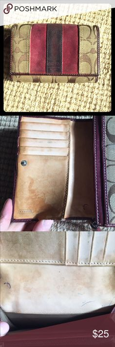 Coach Wallet with Suede Detail! Very well loved but still stylish Coach