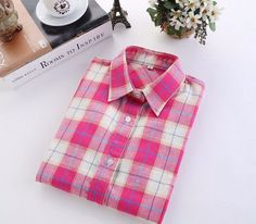 Western Style Pink Women's Plaid Shirt