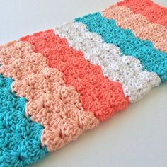 Crochet Baby Blanket - Baby Blanket Crochet - Baby Shower Gift - Baby Girl - Baby Afghan - Peach Aqua White Chunky Crochet Baby Blanket * Coral, peach, aqua and white stripe color blocks * 100% acrylic - soft and durable - machine wash and dry * Measures 26 by 30 - great for crib,