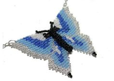 Hand Beaded Butterfly and Sterling Silver Necklace NSB013 $55.00