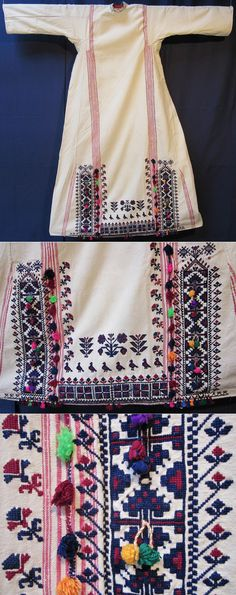 Rear of a bridal 'fistan' / 'göynek' (under-dress for women) with (cotton on cotton) embroidery. From the Karakeçeli (Yörük) villages of the Keles district (south of Bursa), mid-20th century. With close-ups of the embroidered motifs (birds, flowers, geometric designs and small 'üç ok'-motifs, (= 'three arrows'), the ancestral tribal mark of the Oğuz Turks, which include both Türkmen and Yörük. (Inv.nr. gnk073 - Kavak Costume Collection - Antwerpen/Belgium).